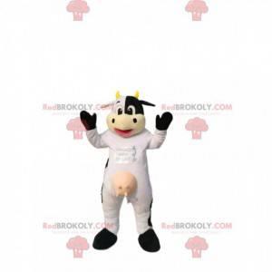 Maskot bílá a černá kráva, se žlutými rohy. - Redbrokoly.com