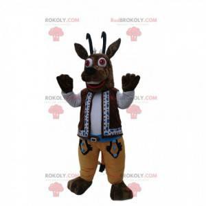 Mascote de camurça marrom com sua roupa tradicional -