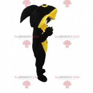 Mascot tiburón negro y amarillo con una enorme mandíbula -