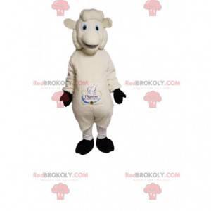 Mascote de ovelha branca muito sorridente. Fantasia de ovelha -