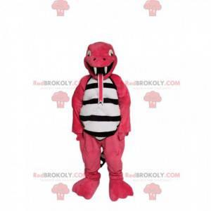 Mascote divertido lagarto rosa. Fantasia de lagarto -