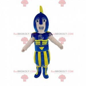 Romeinse soldaatmascotte met een blauwe en gele helm -