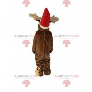Mascote da rena com um chapéu de Natal. Fantasia de rena -