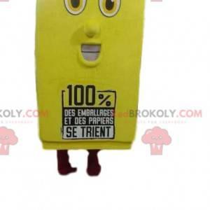 Gul resirkuleringsmaskotte med stort smil - Redbrokoly.com