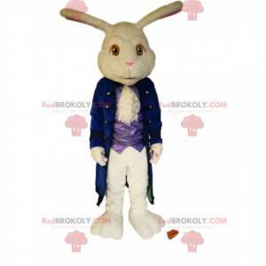 Maskot bílého králíka s velkou modrou sametovou bundou. -