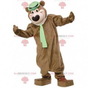 Medvěd hnědý maskot s kloboukem a kravatou - Redbrokoly.com