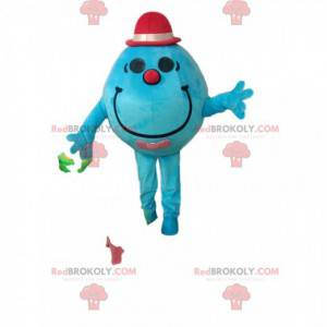 Round turquoise snowman mascot with a little fuchsia hat -
