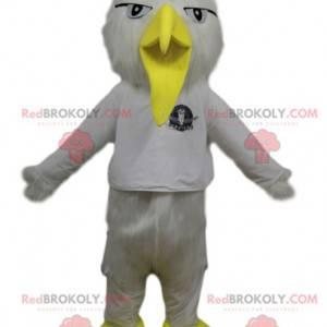 Weißes Vogelmaskottchen mit einem lustigen gelben Schnabel -