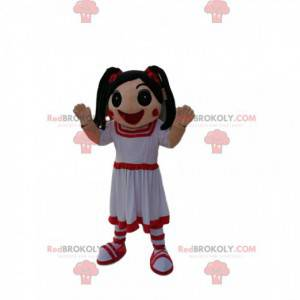 Little girl mascot in white and red dress with quilts -