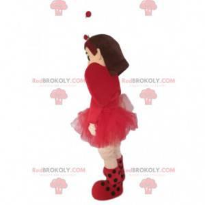 Malá holčička maskot s hezkou fuchsiovou tylovou sukní -
