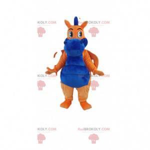 Mascote bonito dragão laranja e azul. Fantasia de dragão -