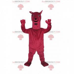 Very cheerful fuchsia large dog mascot. Big dog costume -