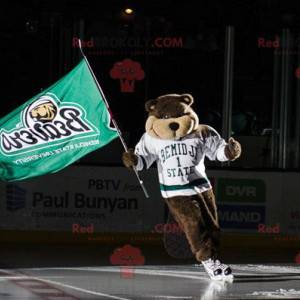 Mascot brown beaver bear with a white sports jersey -