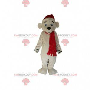 Polar bear mascot with his red Christmas hat and scarf -