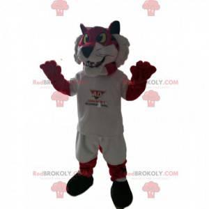 Maskot červený tygr v bílém sportovním oblečení. Lev kostým -