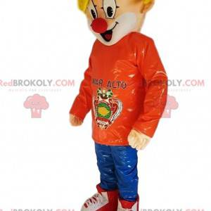 Maskottchen blonder Junge mit einer Clownnase - Redbrokoly.com