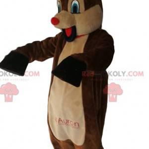 Mascota de reno cómico con su hocico rojo. Disfraz de reno -