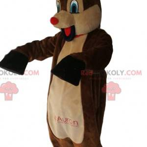 Mascote de rena cômica com seu focinho vermelho. Fantasia de