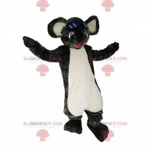 Šedá koala maskot se širokým úsměvem. Koala kostým -