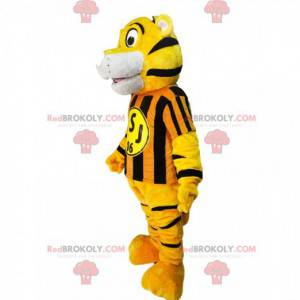 Tiger mascot with a yellow and black striped jersey -