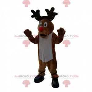 Mascote de rena cômica com um grande nariz vermelho. -