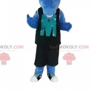 Niebieski koń maskotka z czarną odzież sportową. -