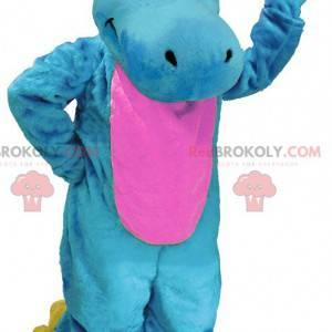 Blå rosa og gul dinosaur maskot - Redbrokoly.com