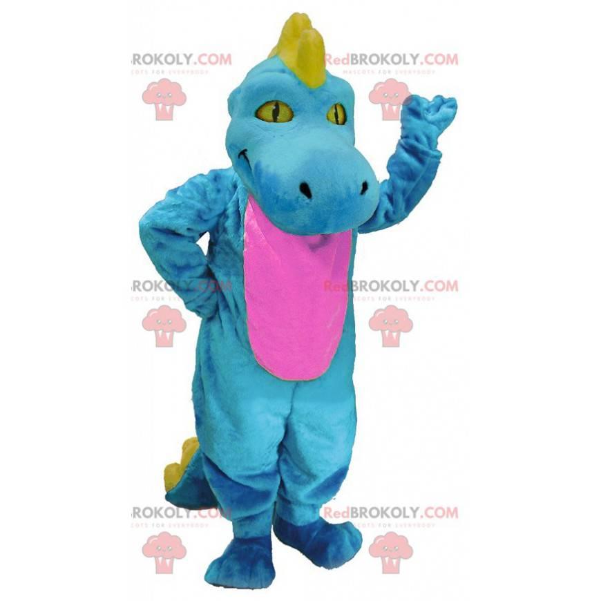 Blue pink and yellow dinosaur mascot - Redbrokoly.com