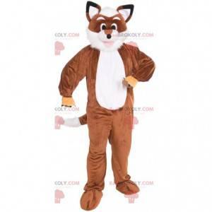 Mascote raposa laranja e branca toda peluda - Redbrokoly.com