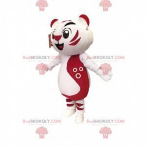Very cheerful white and fuchsia cat mascot.Cat costume -