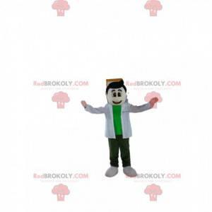 Brązowy mężczyzna maskotka z białą bluzką i zieloną koszulką -
