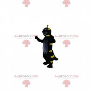 Lagarto de mascote preto e amarelo neon. Fantasia de lagarto -