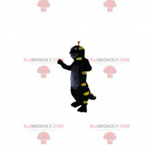 Mascot lagarto negro y amarillo neón. Disfraz de lagarto -