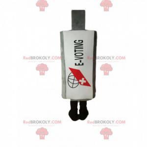 Maskottchen weiße Flasche Drogen. Weißer Kolbenanzug -