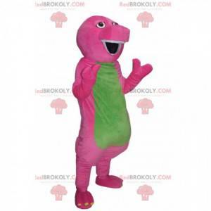 Mascote de dinossauro cômico fúcsia e verde. Fantasia de