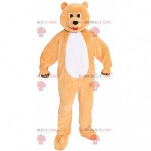 Nettes und buntes riesiges orange und weißes Bärenmaskottchen -