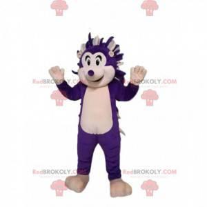 Mascota del erizo púrpura y blanco. Disfraz de erizo -