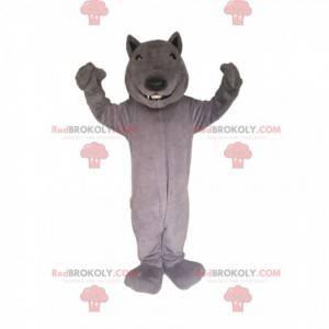 Graues Wolfsmaskottchen lächelnd. Wolfskostüm - Redbrokoly.com