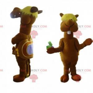 Mascote do camelo com uma franja desgrenhada. Fantasia de
