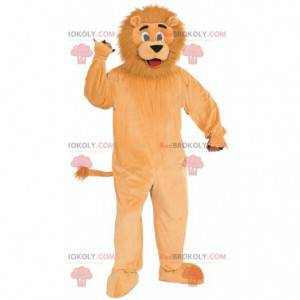 Orange Löwenmaskottchen mit einer haarigen Mähne -