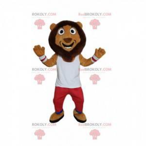 Komiczna maskotka lwa z czerwono-białą odzieżą sportową -