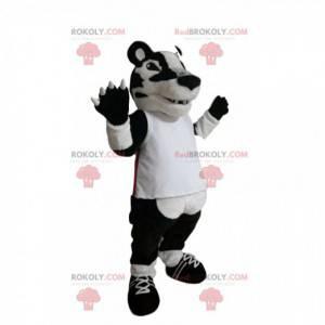 Maskot bílý a černý tygr s bílým dresem. - Redbrokoly.com