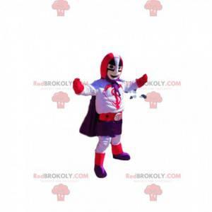Mascota de superhéroe con un traje morado y rojo. -