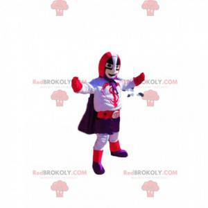 Superhero mascot with a purple and red outfit - Redbrokoly.com