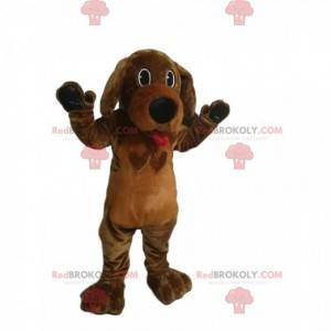 Brown dog mascot sticking out its tongue. Dog costume -