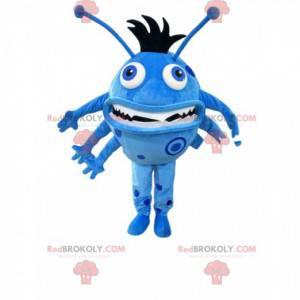Liten blå rund monster maskot med antenner - Redbrokoly.com