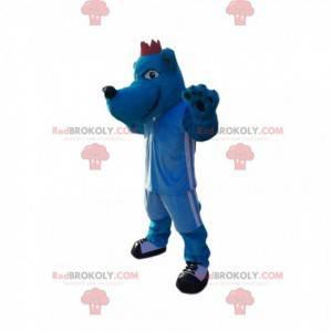 Blaues Wolfshundemaskottchen in blauer Sportbekleidung.