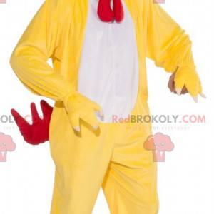 Žlutý bílý a červený kohout slepice maskot - Redbrokoly.com