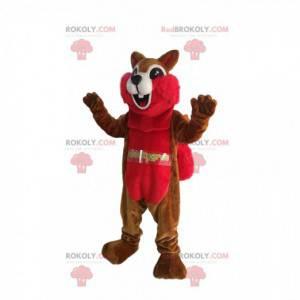 Mascote esquilo marrom e vermelho com um sorriso enorme -