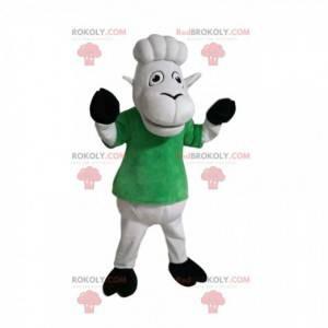 Weißes Schafmaskottchen mit einem grünen T-Shirt. Schafskostüm